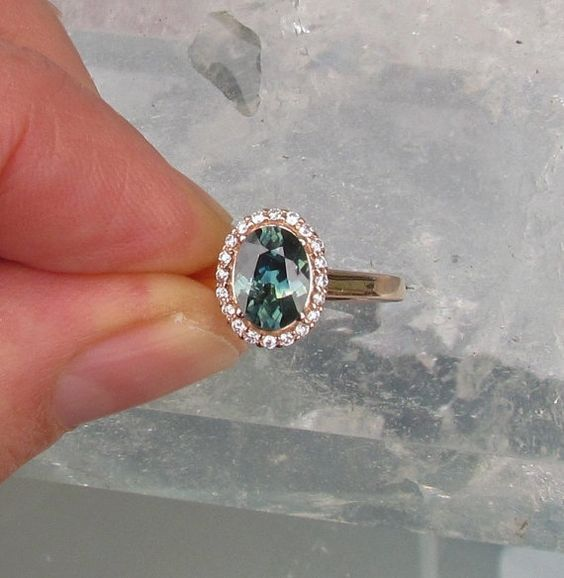 Blue Green Sapphire 14k Rose Gold Diamond Halo Engagement Ring Weddings Anniversary