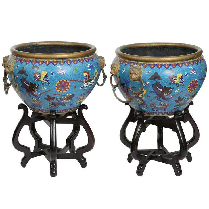 1stdibs – Pair Cloisonné Jardinieres/ Planter Pots On Stands Chinese Enamel