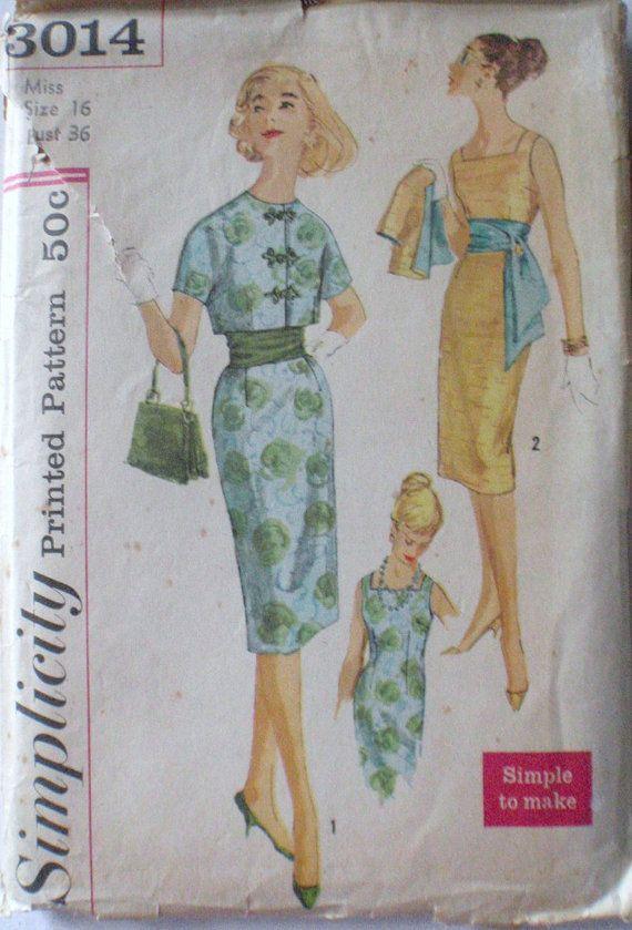 Vintage 50's Square Neckline Dress Short Jacket and Sash