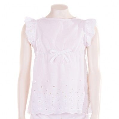 Camisa blanca de niña con perforados