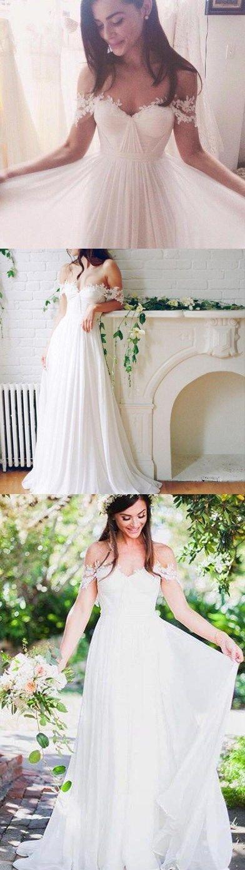 2018 Charming Popular Off Shoulder Long A-line White Chiffon Sexy Lace Wedding Dresses, WD0138 #bridal #weddingdresses #sposabridal