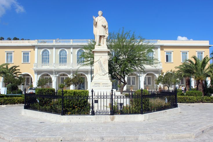 Statue of Dionysios Solomos with the Byzantine #museum in the background. #Zante #Culture #History