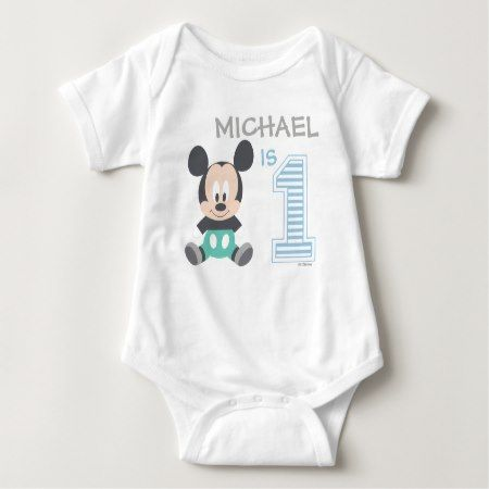 Mickey Mouse | Personalized First Birthday Baby Bodysuit - tap to personalize and get yours