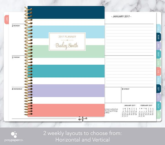 2017-2018 planner 12 month calendar add monthly tabs weekly