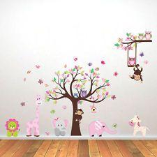 Spectacular Wandtattoo Wald Sticker Tiere Baum Wandbild Affe Gro Kinderzimmer Spielzimmer