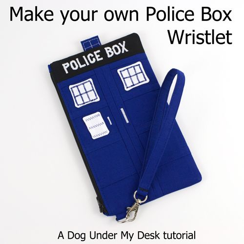 Police Box Wristlet Tutorial from Dog Under My Desk - It probably isn't bigger on the inside, but it is certainly cute!