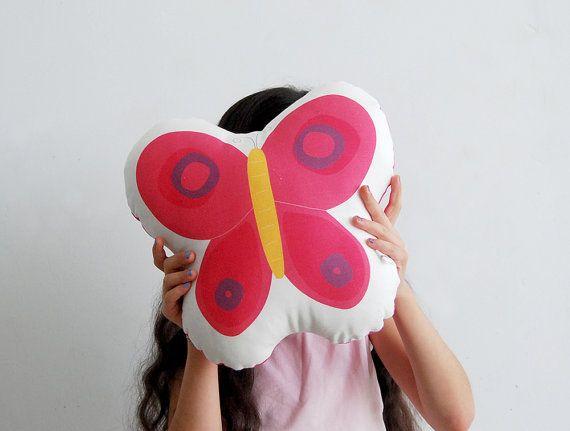 Stuffed toy pink soft pillow fuchsia butterfly cotton