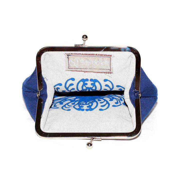 Inside of Clutch Clip purse Suzie Qu Pincushion on Putty base cloth