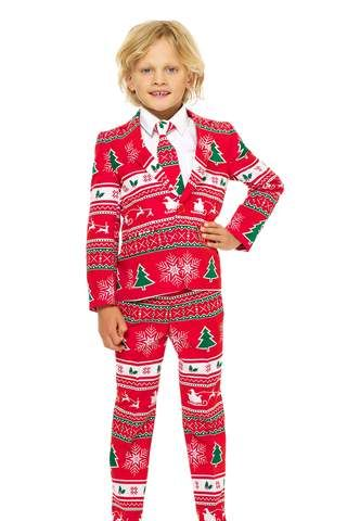 Red Ugly Christmas Sweater Suit For Kids
