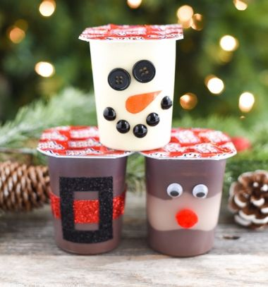 Santa,snowman and reindeer puddings - Christmas party treats // Mikulás, hóember és rénszarvas pudingok - kreatív ajándék gyerekeknek // Mindy - craft tutorial collection // #crafts #DIY #craftTutorial #tutorial #DIYGift #Gifts #KreatívAjándék #HandmadeGifts
