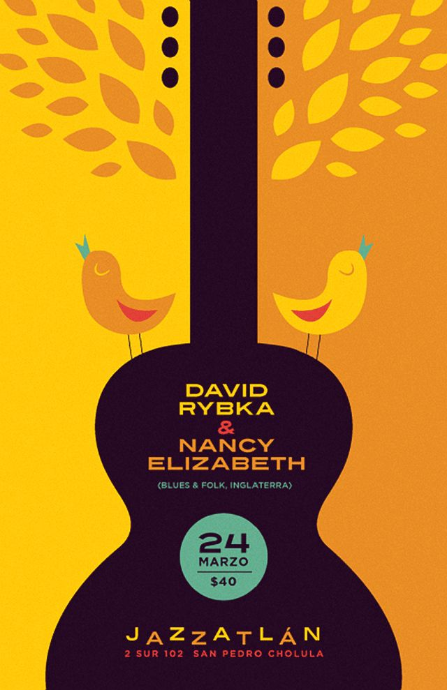Beautiful poster for a jazz club in the heart of Cholula, Mexico by José Guízar.