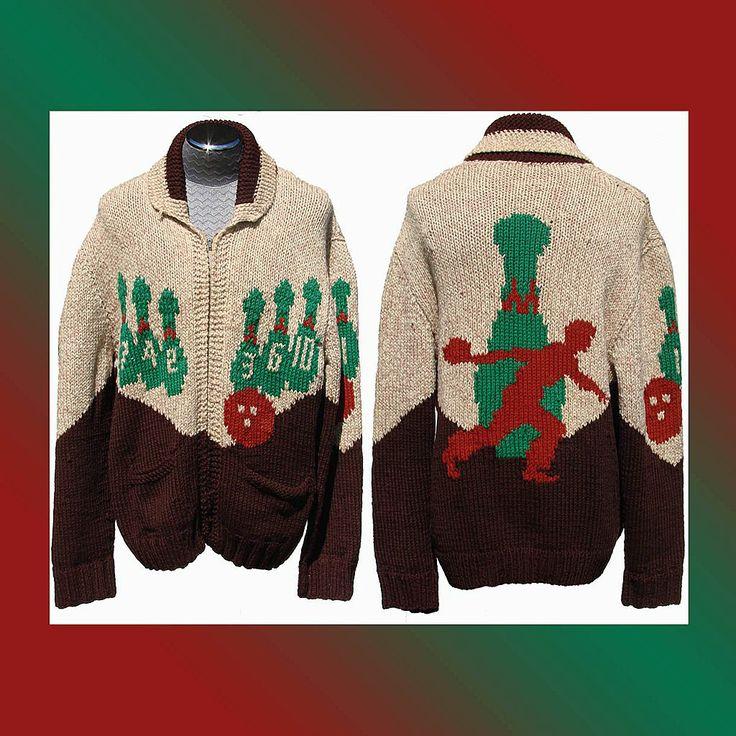 Vintage Mary Maxim Cowichan Wool Curling Sweater Bowling Motifs Men's Large Plus
