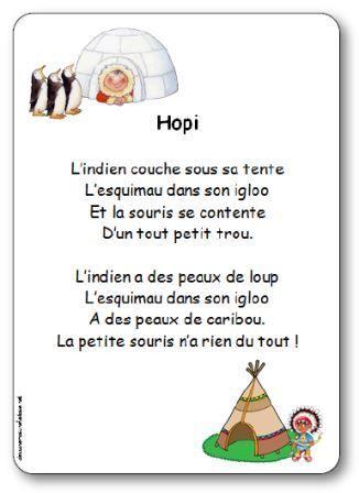 Comptine sur les indiens Hopi illustrée à imprimer gratuitement