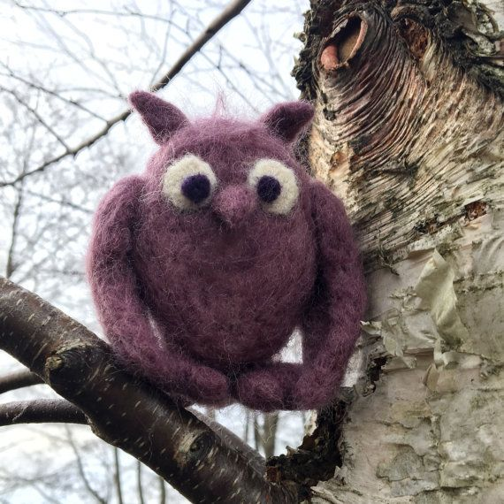 Felted owl cute owl owl gift wool felt owl owl toy by KaneToys