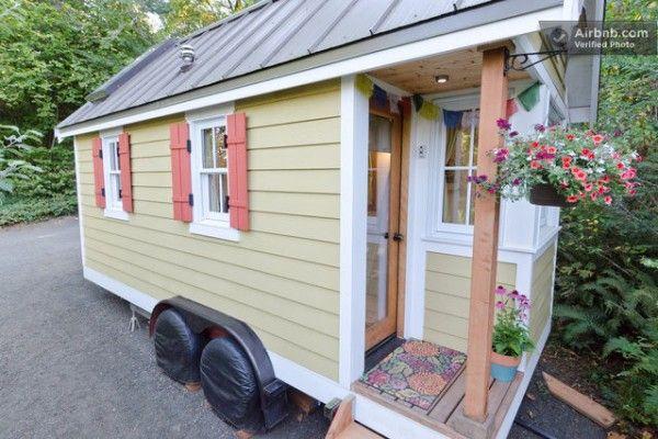 cozy tiny house on wheels for rent 600x400  Olympia, WA. Interior photos.