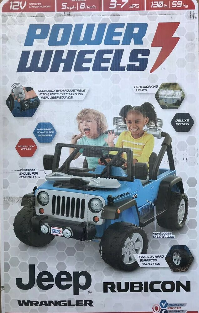 Fisher Price Jeep Wrangler Power Wheels Deluxe Jeep Rubicon 12v Ride On Blue Powerwheels Jeep Rubicon Power Wheels Power Wheels Jeep