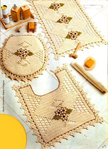 Set De Baño Tejido En Crochet Paso A Paso:Juegos De Bano Tejidos A Crochet