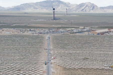 Ivanpah, one of the largest solar thermal farms in the world, which when switched on in 2013, will use 170,000 mirrors to concentrate sunlight onto three massive towers to produce solar electricity