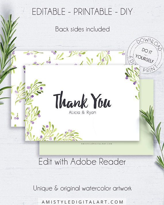 Printable Thank You Greeting Card - with adorable and classic watercolor olive branches.Perfect for weddings and showers to say thanks to your beloved guests by Amistyle Digital Art on Etsy