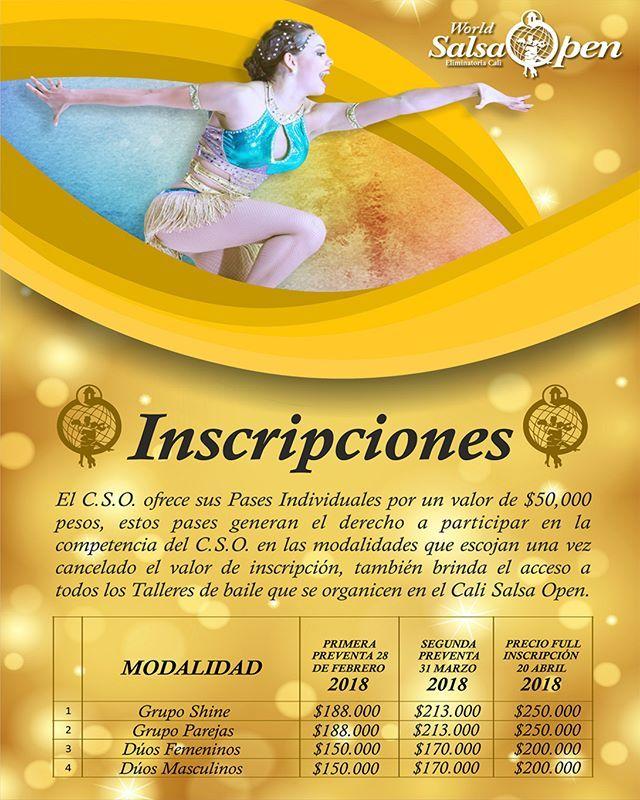 Preventa Inscripciones CALI SALSA OPEN para Grupo Shine Grupo Parejas Dúos Femeninos Dúos Masculinos. Aprovechen los descuentos. Info: http://ift.tt/2FUq60V Teléfono: 3177752500 - 3702692 Correo: calisalsaopen@sondeluz.co #Calico #Colombia #Shine #Cabaret #SalsaDance #SalsaCompetition #Mundialdesalsa