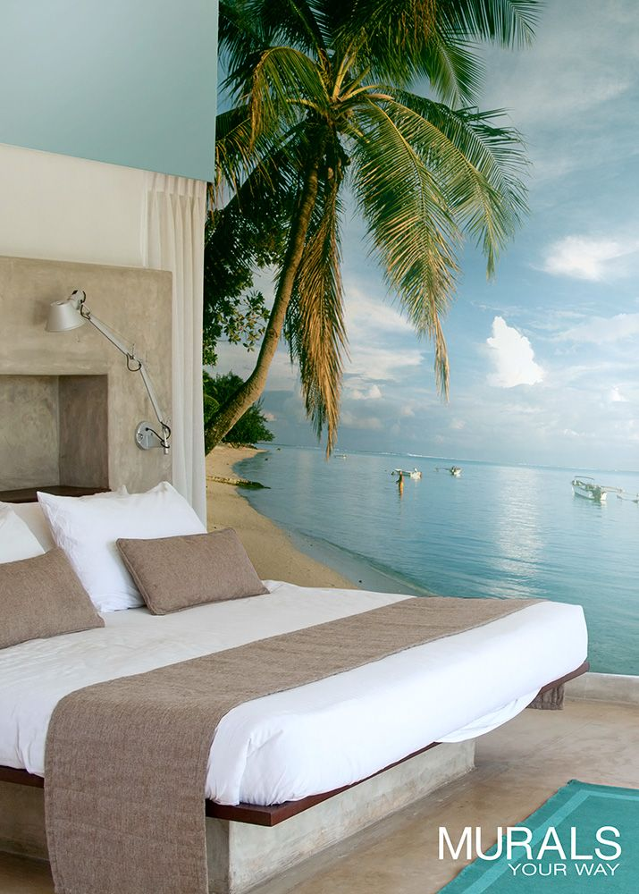 Beach wall decor that helps you create a mini getaway right in your own home. Wallpaper murals pack a lot of punch for an easy and quick project. #myMYWmural