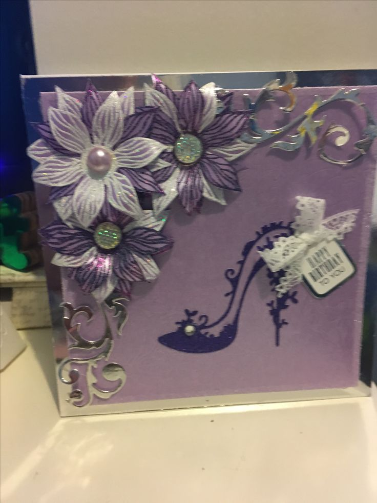 Tattered lace shoe die, Flower stamp and wow powder by Chloe, card and sentiment by Hunkydory