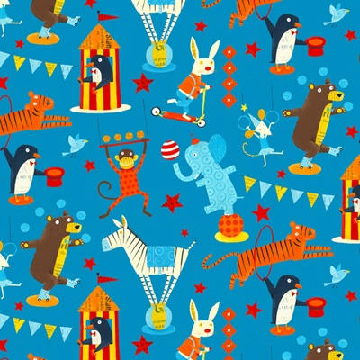 Circus Fabric Design for Kokka by Nancy Wolff Kitty as a Picture Surface Design Blog: Illustration Pattern Fashion