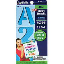 ArtSkills Sticky Stencils, 3in., Numbers/Letters/Symbols, Blue, Pack of 40