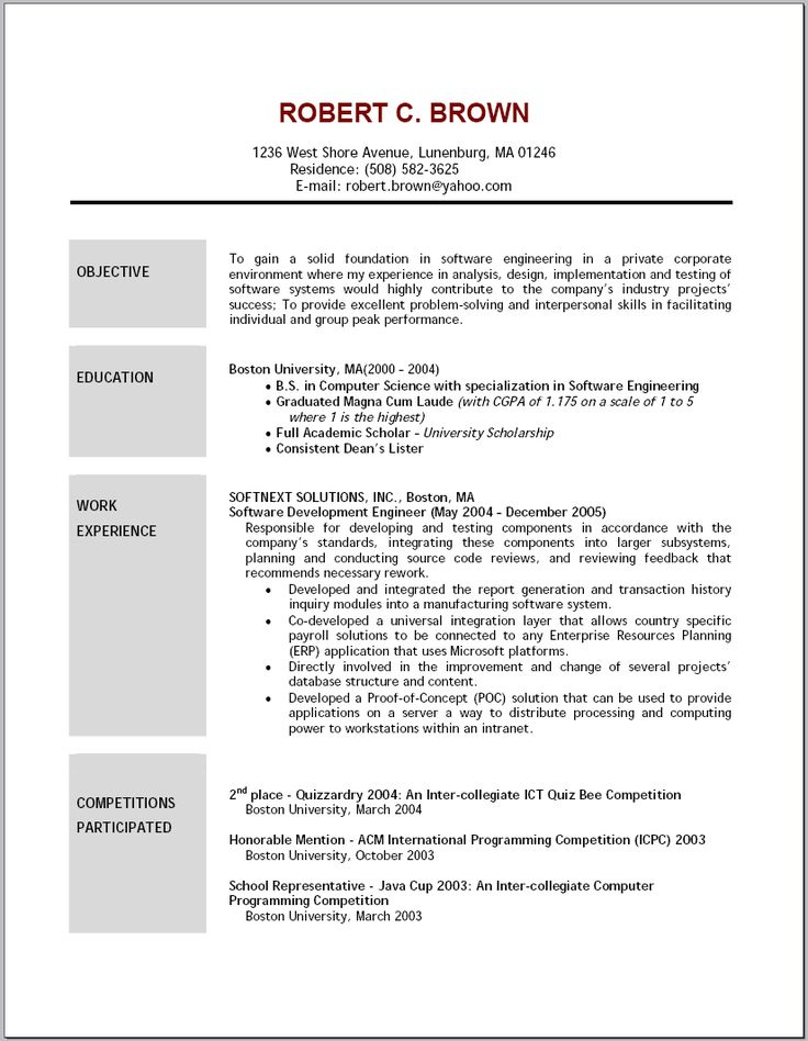 Resume Objective Example For No Experience  Template