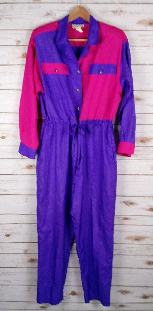 Vintage 80s 90s Color Block Jumpsuit L Hot Pink & Purple Neon Drawstring Waist #Ideas #Jumpsuit