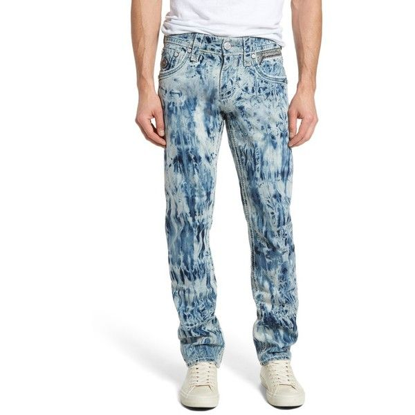 Men's Rock Revival Alternative Straight Leg Jeans (2.355 CZK) ❤ liked on Polyvore featuring men's fashion, men's clothing, men's jeans, mens straight leg jeans, mens acid wash jeans, rock revival mens jeans, mens blue jeans and mens jeans