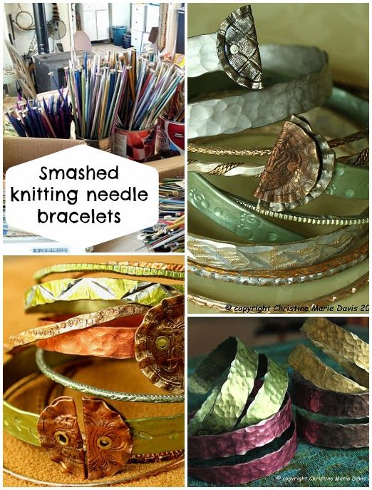 Smashed metal knitting needle bracelets I LOVE THIS hammered look!