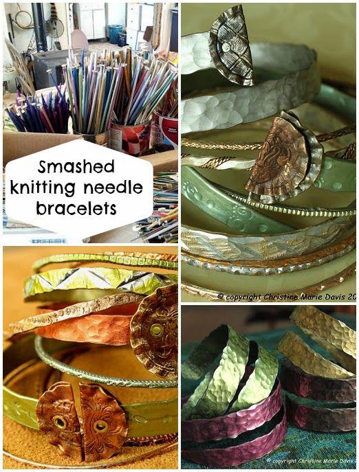 Diy Knitting Needle : Smashed metal knitting needle bracelets diy handmade