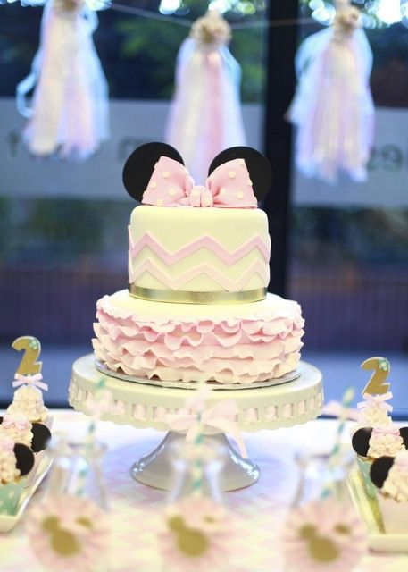 Beautiful Cake at a Minnie Mouse Party.  See more party ideas at CatchMyParty.com.  #minniemousepartyideas