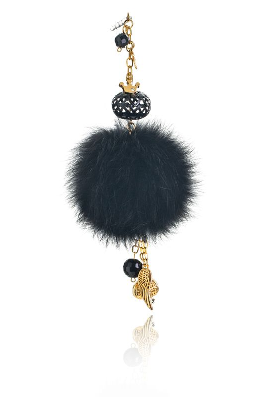 Pompon Mobile Charm with 7cm black real fox fur, mobile clip, crystal beads and decorative elements. Price: 21.00E