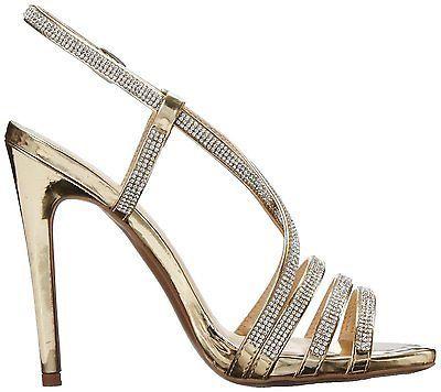 Ouro Nova alta calcanhar Sandália De Tiras De Strass Para Noivas Baile De Formatura, Casamento, formal Sapatos