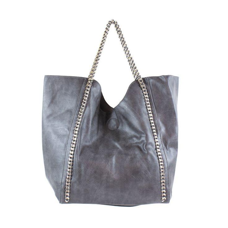 Oversized Chain Strap Handbag Charcoal
