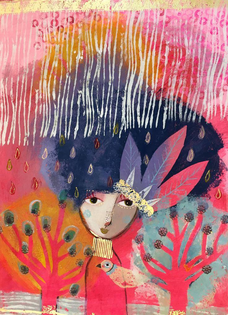 "Camilla Hyllén 2016 www.camillahyllen.com  ""Springtime"" Acrylic on cardboard 50x70 cm"