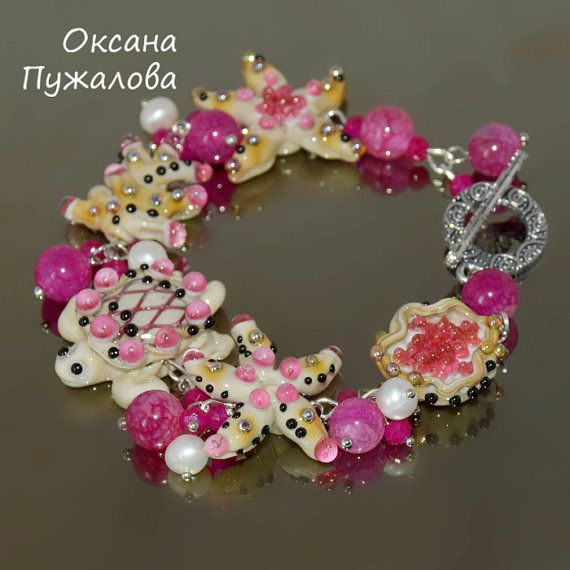 #lampwork #bracelet #turtle #glass #sea #pink #gift #birthday