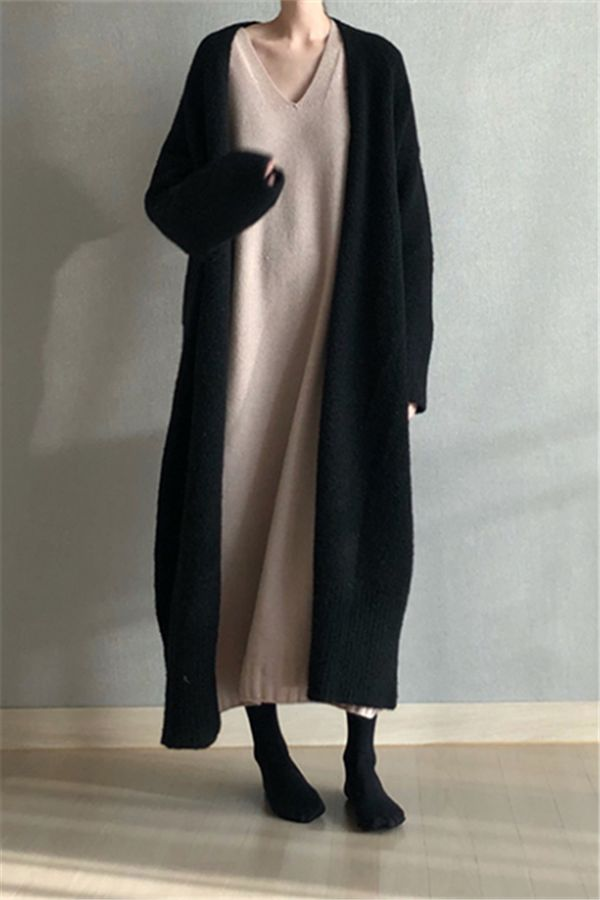 Pure Color Easy Casual   Long Cardigan Knitting Sweater #casual #outfit #fashion…