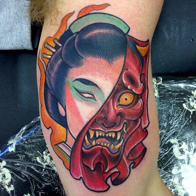 Geisha hannya tattoo dusty neal featured artist dusty for Japanese mask tattoo