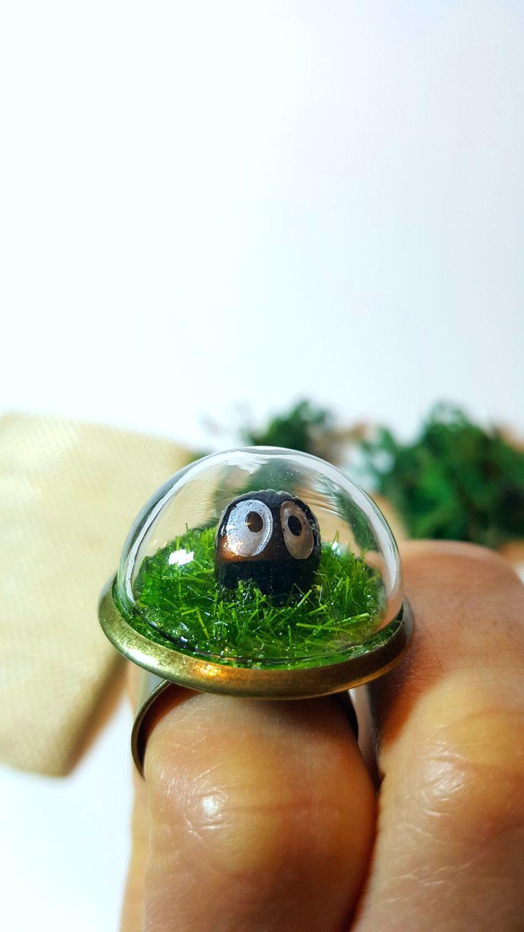 Cute Mini Terrarium Ring - Miniature Moss Terrarium, Fairy Garden, Gift, Bronze, Forest Ring Glass Dome. FREE SHIPPING!