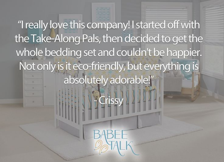 """""""I really love this company! I started off with the Take-Along Pals, then decided to get the whole bedding set and couldn't be happier. Not only is it eco-friendly, but everything is absolutely adorable! I ended up getting a bunch from Babee Talk gifts too, because I was so thrilled with this company. Definitely going to be looking for my products from this company. Thank you!"""" Thank you, Crissy! #babeetalk #fans #welove #thanks"""
