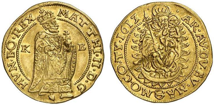 AV Goldgulden. Hungary Coins, Habsburg Rulers, Matthias II. 1608-1619. Kremnitz mint, 1613 KB. 3,46g. F 81. RR! Nearly EF. Price realized 2011: 1.300 USD.