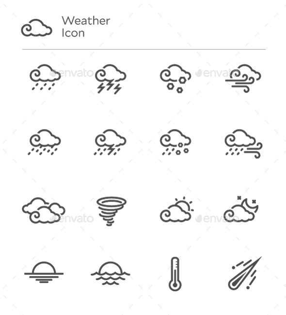 Weather Forecast Vector Line Icon Set