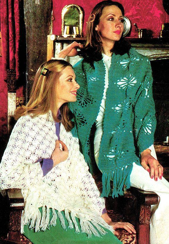 PDF Vintage 1970s Womens Ladies Shawl Stole Knitting & Crochet
