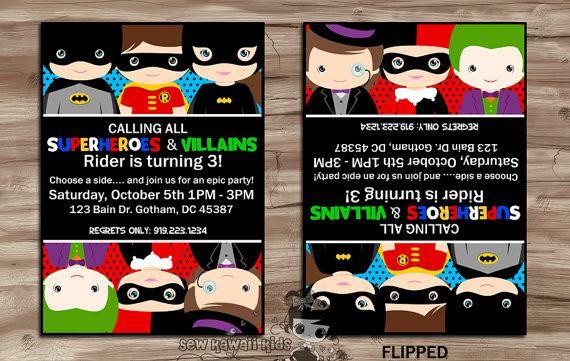 SUPERHEROES vs VILLAINS Birthday Invitation, Invite, Batman, Batgirl, Robin, Joker, Harley Quinn, Penguin, Digital Printable: 5 x 7 JPG File...