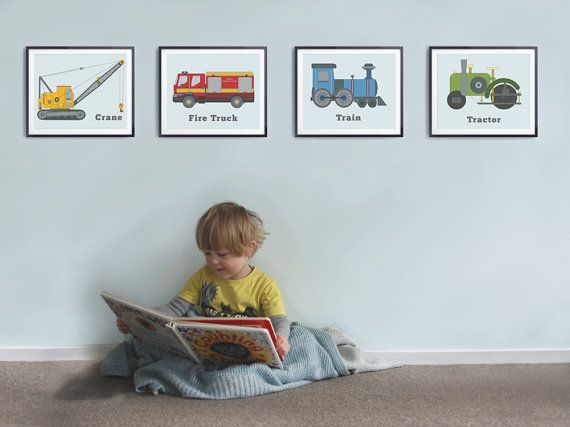 Boys room decor Set of 4 prints Toddlers by LittleGrippersStore