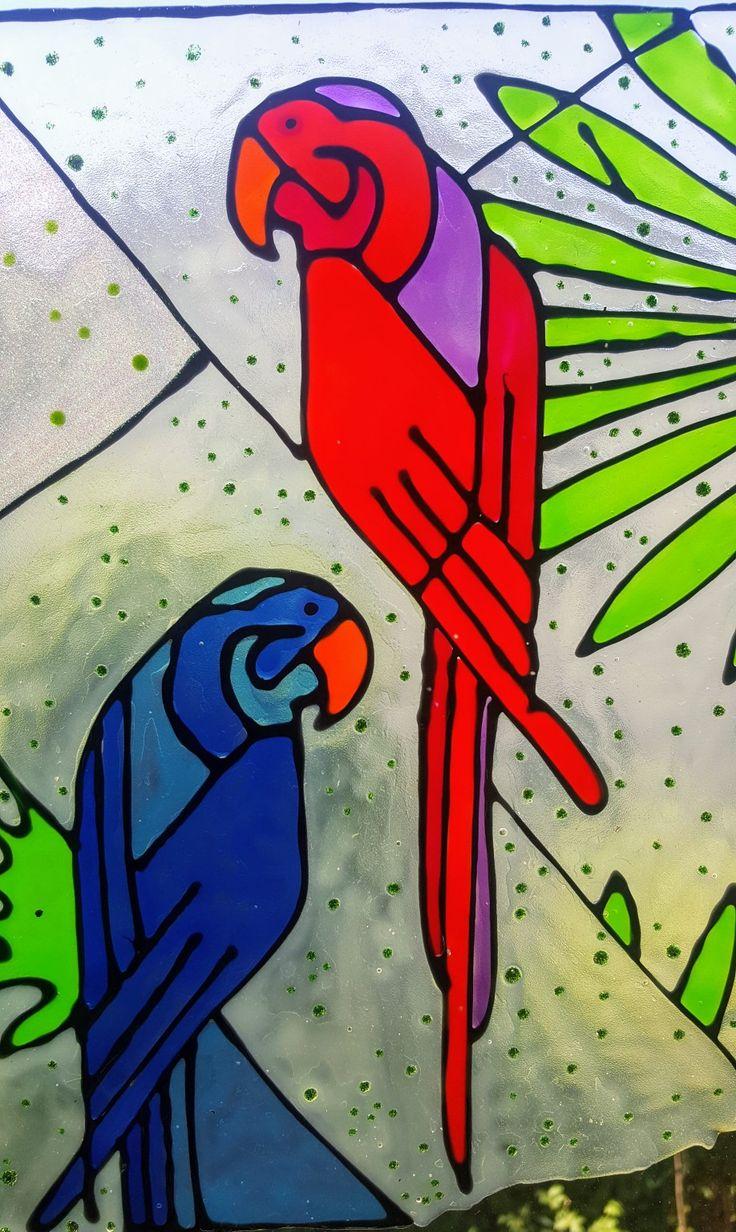 Parrots Vetrofania realizzata con window colors  Associazione ColoriAmo Vivere di Colori