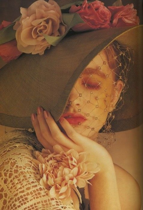 .: Pink Flower, Albert Watson, Vintage Wedding, Beautiful Editorial, Vogue Uk, Vintage Hats, Vintage Beautiful, Beautiful Art, Lace Flower